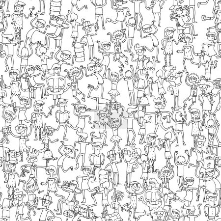 Dancing party seamless pattern in black and white