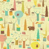 Grunge Woodland Animals seamless pattern in colors is hand drawn grunge illustration of forest animals Illustration is in eps8 vector mode background on separate layer