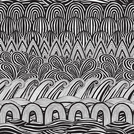 Collage nahtloses Muster in Schwarz und Weiß