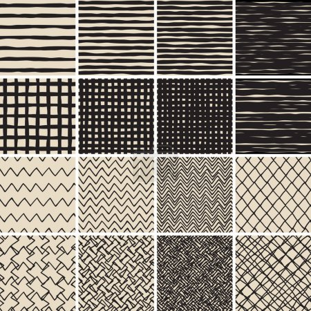 Illustration for Basic Doodle Seamless Pattern Set No.2 in black and white is collection of 16 simple repetitive patterns. Illustration is in eps8 vector mode, background on separate layer. - Royalty Free Image