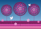 Decorative card of fantasy garden with pink blossoming trees flowers and two birds Optical effect created just by colors Vector file is eps8 all elements are grouped