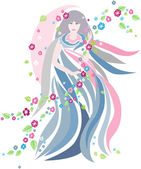 The woman of Spring in streaming cloth and in swirl of flowers and leaves Vector file is layered EPS8 all elements are grouped