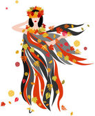 The woman of Autumn in streaming cloth and in swirl of falling autumn leaves Vector file is layered EPS8 all elements are grouped