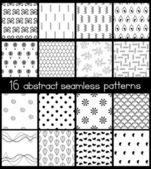 Set of 16 contrast seamless patterns Black and white vector ornaments collection Different abstract geometric patterns Vector file is EPS8 each pattern is grouped apart Drop into your AI swatches and use as fill