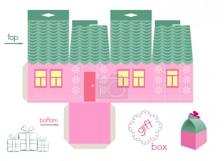 Illustration for Template for gift box in a form of cute house. Easy for installation - light grey parts of template are for glue. Two holes in top of box for ribbon. In adds - label for text and sample of decoration with bow. Vector file is layered EPS8. - Royalty Free Image