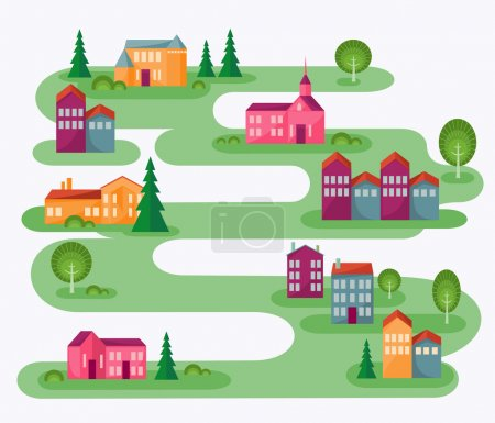 Illustration for Cartoon illustration with abstract map of countryside. Rolling landscape with small village and trees. Colorful houses. Cute street in flat design. Architect concept. Vector file is EPS8, all elements are grouped. - Royalty Free Image