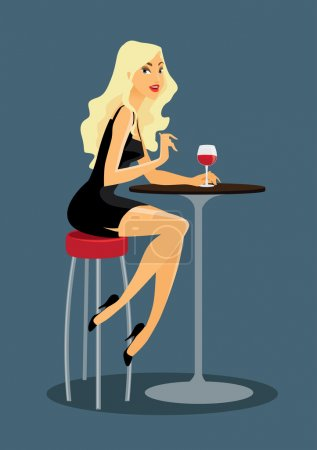 Illustration for Beautiful blond girl sitting in the bar with wine - Royalty Free Image