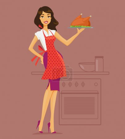 Illustration pour Illustration vectorielle de la femme au foyer dans les offres de cuisine. Femme au foyer dans la cuisine - image libre de droit