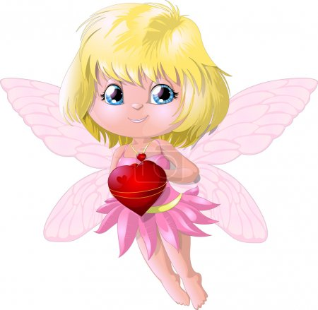 Illustration for The little fairy who holds heart in the hand - Royalty Free Image
