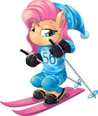 Beautiful horse of a pony who goes on skis at the Olympic Games