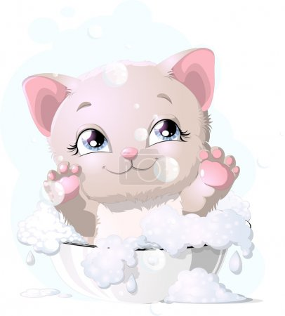 Illustration for Kitten who it is joyful плескается in a basin with water - Royalty Free Image