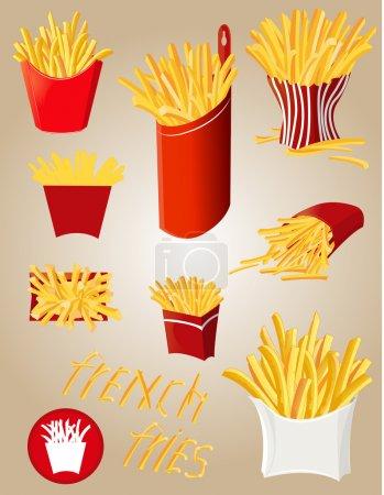 Illustration pour Il y a beaucoup d'options de frites rassemblées - image libre de droit