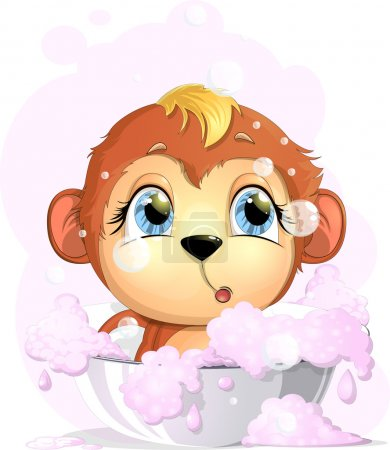 Illustration for Monkey awash basin with foam on a white background - Royalty Free Image