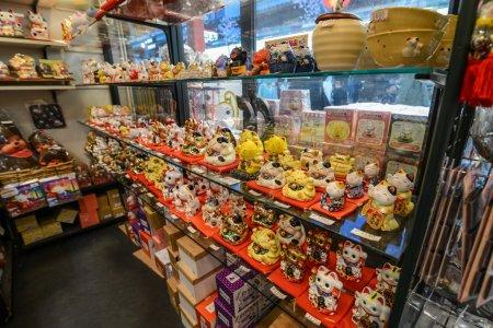 A lot of maneki-neko in souvenir shop in Asakusa, Tokyo