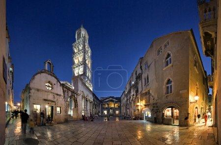 Peristyle (Peristil), Split, Croatia, night view