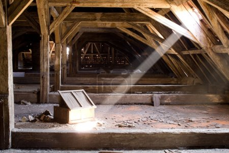 Old attic of a house, hidden secrets