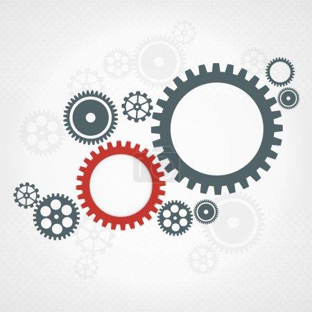 Illustration pour Fond de vecteur avec des roues dentées gris et rouges. concept de travail d'équipe. - image libre de droit