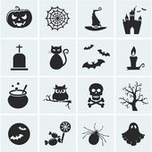 Collection of 16 halloween icons Vector illustration