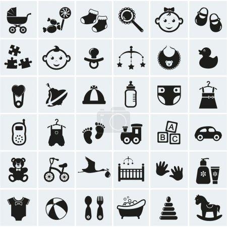 Illustration pour Collection de 36 icônes bébé. illustration vectorielle. - image libre de droit
