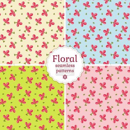 Seamless floral patterns. Vector illustration.