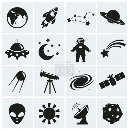Illustration pour Collection de 16 icônes de l'espace et l'astronomie. illustration vectorielle. - image libre de droit