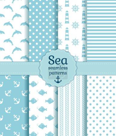 Illustration pour Ensemble de motifs marins et nautiques sans couture dans des couleurs blanches et bleu pâle. Illustration vectorielle - image libre de droit