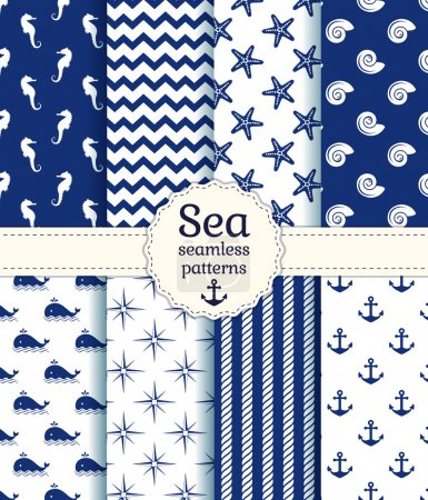 Illustration for Set of sea and nautical seamless patterns in white and navy blue colors. Vector illustration - Royalty Free Image