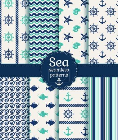 Illustration pour Ensemble de mer et nautiques sans couture dans les couleurs bleus foncés, blancs et turquoises. illustration vectorielle. - image libre de droit