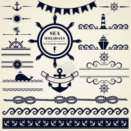 Illustration for Collection of various nautical elements for design and page decoration. Vector illustration. - Royalty Free Image