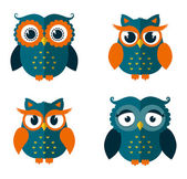 Set of four owls isolated on white background Flat icons Vector illustration