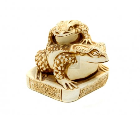 Netsuke Money Toad with on white background.