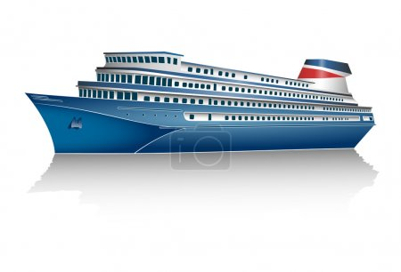 Illustration for Cruise ship on white background. Vector illustration. - Royalty Free Image