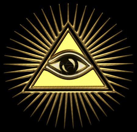Photo pour L'Œil de la Providence (ou l'œil tout voyant de Dieu) est un symbole montrant un œil souvent entouré de rayons de lumière ou de gloire et généralement entouré d'un triangle (feu ou trinité). L'œil qui voit tout est l'œil de la conscience et de la divinité . - image libre de droit
