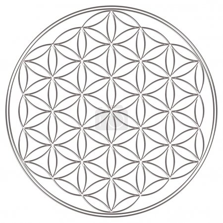 Photo for The Flower of life is an ancient symbol of Sacred Geometry and represents the fundamental order of creation. The Flower of Life has an organizing and balancing effect on all processes of life. She helps to harmonize possible harmful energy. - Royalty Free Image