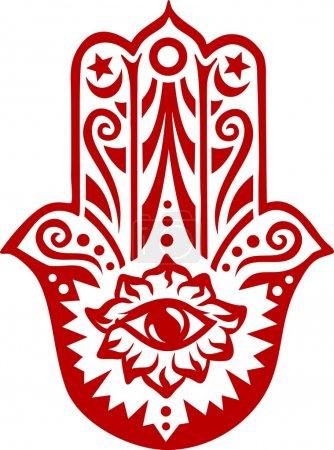 Illustration for Hamsa - Hand of Fatima - vector illustration - Royalty Free Image