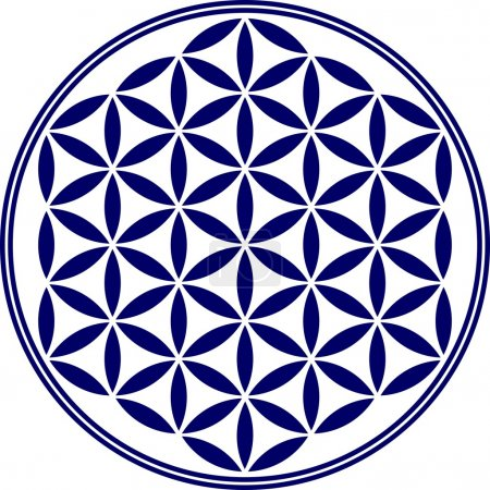 Illustration for The Flower of life is an ancient symbol of Sacred Geometry and represents the fundamental order of creation. The Flower of Life has an organizing and balancing effect on all processes of life. She helps to harmonize possible harmful energy. - Royalty Free Image
