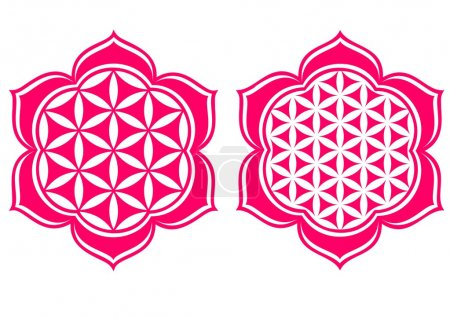 """Illustration for The Flower of Life can be found in all major religions of the world. It contains the patterns of creation as they emerged from the """"Great Void"""".The Flower of life is excellent for healing and helps in connecting to the higher self. - Royalty Free Image"""