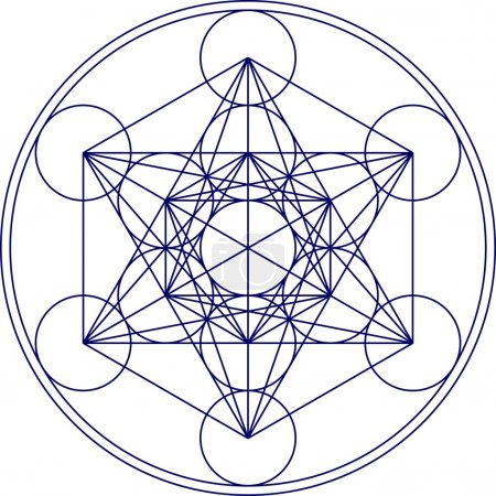 Photo pour Metatrons cube représente le grillage de notre conscience et le cadre de notre univers. C'est la matrice dans laquelle tout figure dans nos trois dimensions étant - image libre de droit