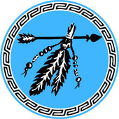 Arrow with feathers - vector image
