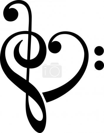 Music Heart, Bass & Treble Clef