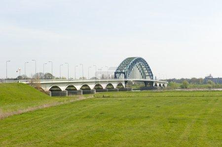 Pillars of highway bridge over river