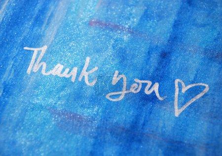Photo pour Message de remerciement manuscrite - image libre de droit