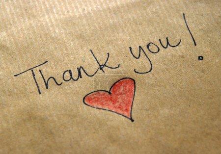 Photo pour Message de remerciement manuscrit - image libre de droit