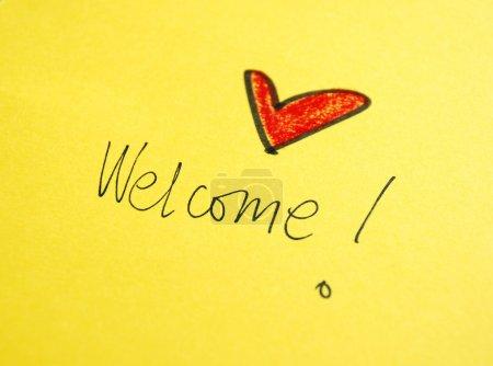 Photo pour Message de Bienvenue écrit à la main - image libre de droit