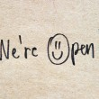We are open text on old paper