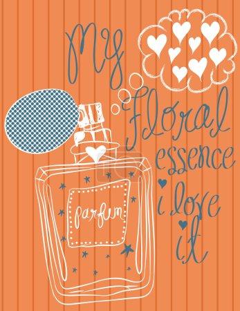 Illustration pour Illustrations vectorielles de bouteille de parfum de coeur de la mode. - image libre de droit