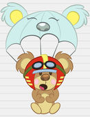 Illustration Vector of Airplane with a teddy bear