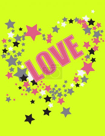 Illustration for Heart consisted of many glossy colorful stars. Illustration Vector. - Royalty Free Image