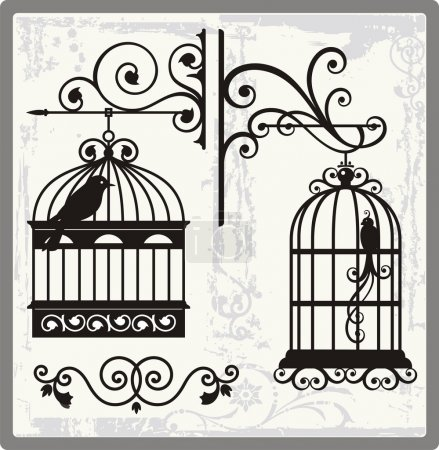 Illustration for Vintage Bird Cages with Ornamental Decorations - Royalty Free Image