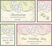 Vector set of wedding invitation designs with floral ornaments